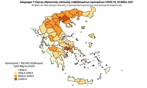 Διασπορά κρουσμάτων: 924 κρούσματα στην Αττική, 247 στη Θεσσαλονίκη